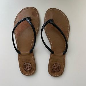 Tory Burch black women's flip flops patent leather